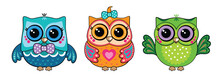 Set Cute Funny Owls. Forest Bi...