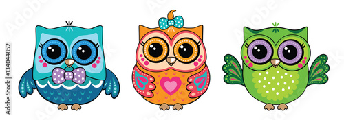 In de dag Uilen cartoon Cute owl