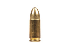 Sinle 9mm Bullet Isolated On White Background