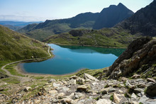 Track In Snowdonia National Park, North Wales, United Kingdom; View Of The Mountains And The Lakes, Selective Focus