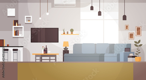 Modern Living Room Interior Empty No People House Flat Vector