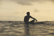 Rear view of man sitting on surfboard in sea against cloudy sky during sunset