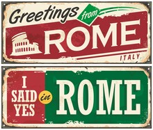 Rome Italy Retro Post Card Idea With On Old Metal Background