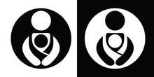 Vector Babywearing Symbols Set With Parent Carrying Baby In A Sling. Black And White Icon Style.
