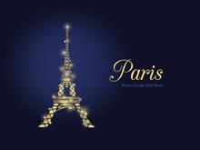 Vector Golden Glowing Eifel Tower In Paris Silhouette At Night. French Landmark On Dark Blue Horizontal Background.