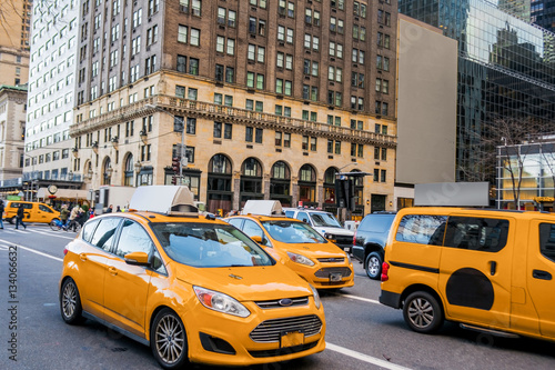 Foto auf AluDibond New York TAXI Transportation, cabs, new york, wallpaper, background, Manhattan, USA,