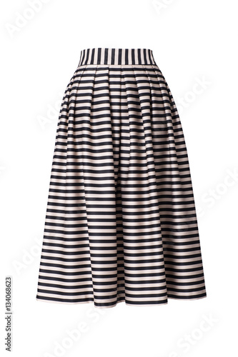 Photo Retro striped skirt isolated on white background