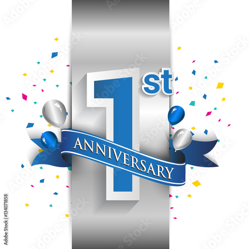 фотография  1st anniversary logo with silver label and blue ribbon, balloons, confetti