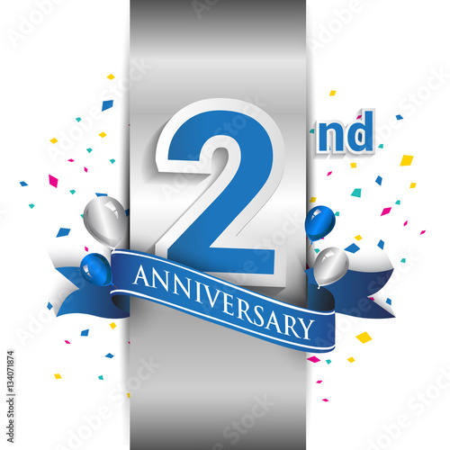 Платно  2nd anniversary logo with silver label and blue ribbon, balloons, confetti
