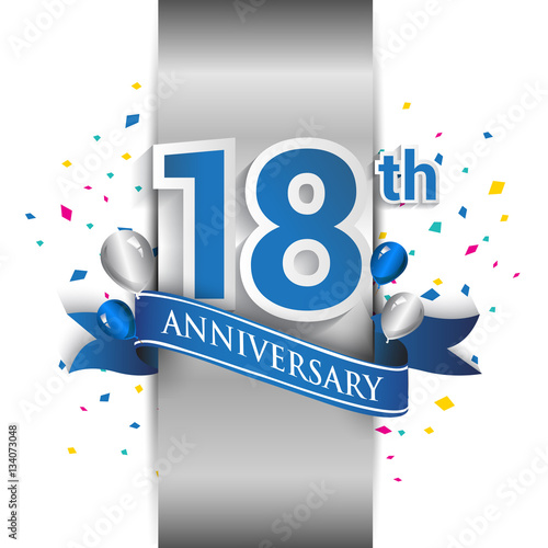 Платно  18th anniversary logo with silver label and blue ribbon, balloons, confetti