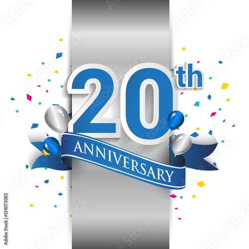 фотография  20th anniversary logo with silver label and blue ribbon, balloons, confetti