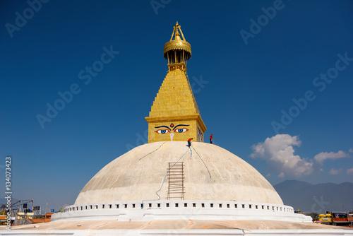 Boudhanath stupa under reconstruction after the earthquake Kathmandu ,Nepal.