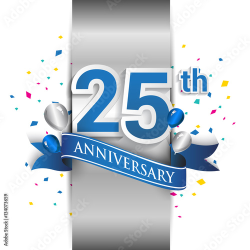 Платно  25th anniversary logo with silver label and blue ribbon, balloons, confetti