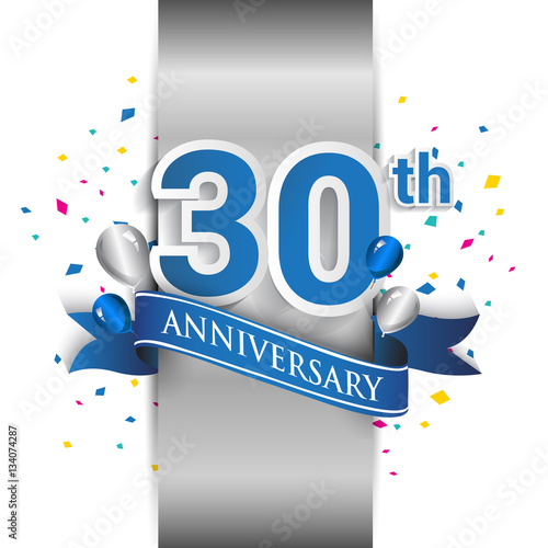 Платно  30th anniversary logo with silver label and blue ribbon, balloons, confetti