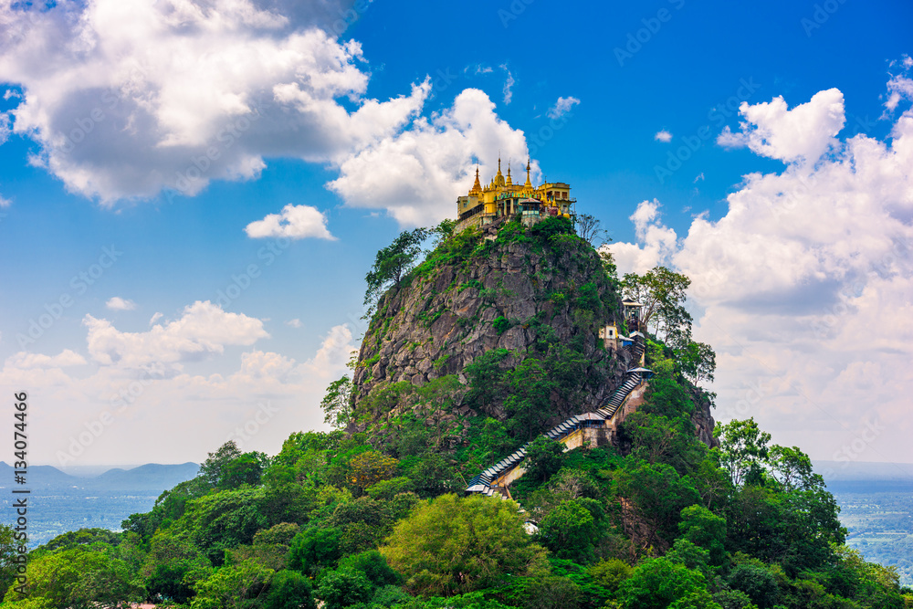 Fototapety, obrazy: Taung Kalat atop Mt. Popa in Myanmar, an extinct volcano.