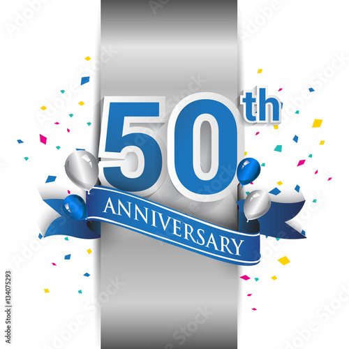 50th Anniversary Logo With Silver Label And Blue Ribbon Balloons Confetti 50 Years Birthday Celebration Design For Party Invitation Card