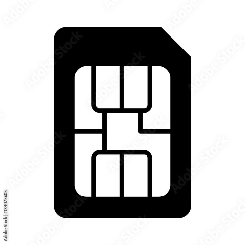 Fotografija  SIM card or subscriber identity / identification module chip flat vector icon fo