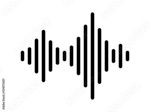 Fotografie, Obraz  Sound / audio wave or soundwave line art vector icon for music apps and websites