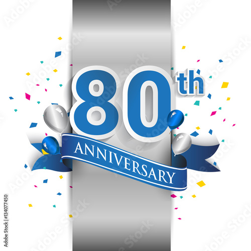 Платно  80th anniversary logo with silver label and blue ribbon, balloons, confetti