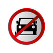 circular contour road sign prohibited parking area for cars vector illustration