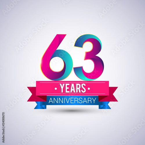 Αφίσα  63 years anniversary logo, blue and red colored vector design