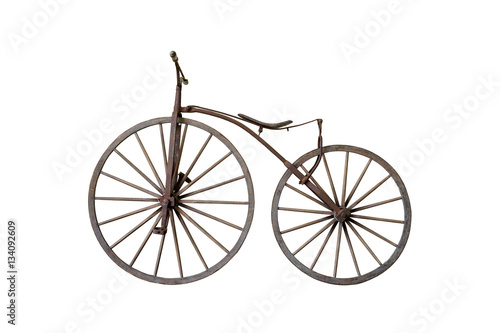 Old rusty vintage bicycle isolated