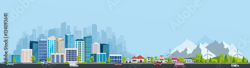 Poster Pool Urban landscape with large modern buildings and suburb with priv