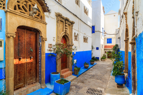 Small streets in blue and white in the kasbah of the old city Ra