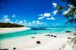 Beautiful panorama of tropical island. Paradise beach on Mauritius.