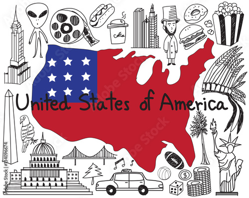 Travel to United state of America doodle drawing icon with culture, costume, lan Poster