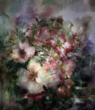 Abstract colorful flowers watercolor painting. Spring multicolored flowers - 134102207