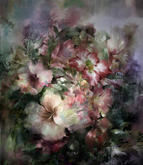 Fototapeta Abstrakcja Abstract colorful flowers watercolor painting. Spring multicolored flowers