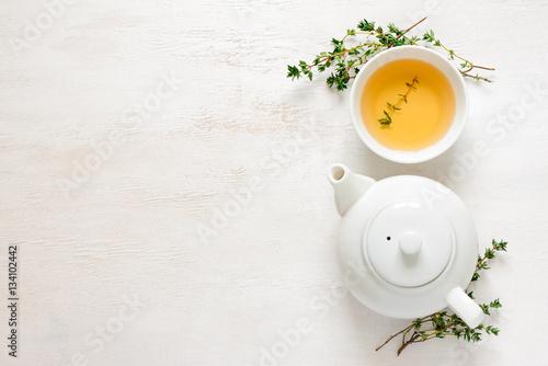 Fotografie, Obraz  Thyme tea, top view