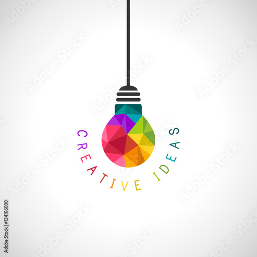 Fototapeta Creative ideas concept with colourful light bulb in modern polygonal style obraz na płótnie
