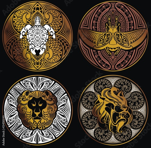 Photo  Ethnic Amulet with symbol of turtle,dragon,leo and scarab