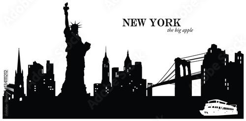 Photo  Vector illustration of the cityscape skyline of New York, USA