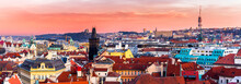 Beautiful Sunset In Prague, Cz...