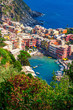 View above Vernazza village in summer, Cinque Terre national park, Italy.