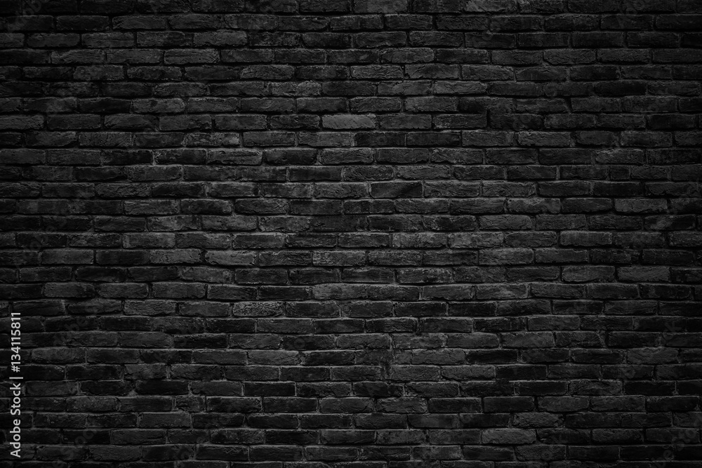 Fotografia  black brick wall, dark background for design