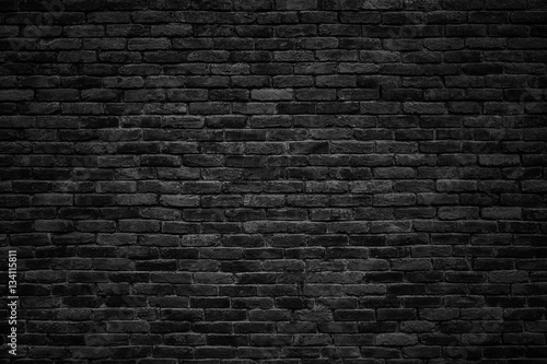 Photo sur Toile Beton black brick wall, dark background for design