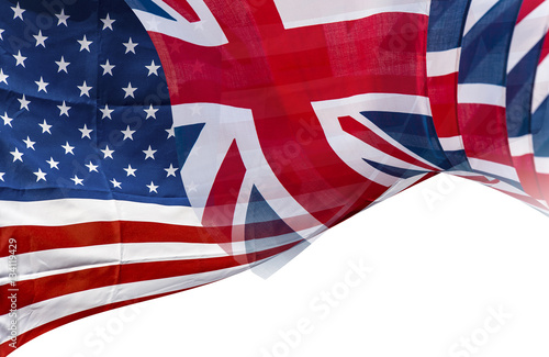 Photo Mixed Flags of the USA and the UK, English and American flag, background