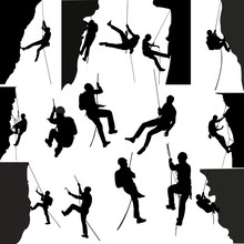 Rock Climbers Silhouette Collection