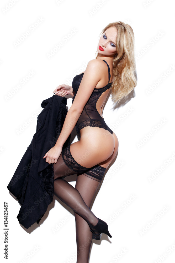 Blonde En Lingerie photo & art print sexy blonde woman in lingerie posing at white wall