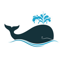 Whale Icon With Water Fountain Blow