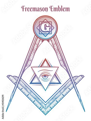 Fotografia, Obraz  Freemason square and compass