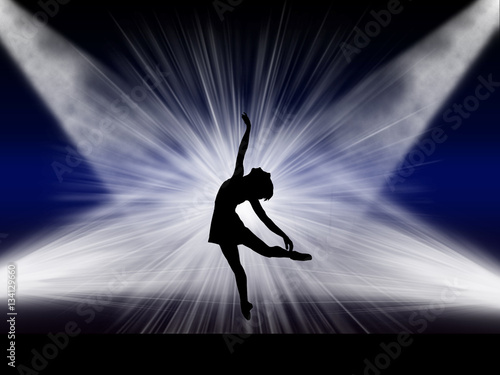 Ballet dancer performing on the stage Canvas Print