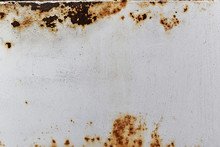 Rusted And Corroded On Metal White Background.