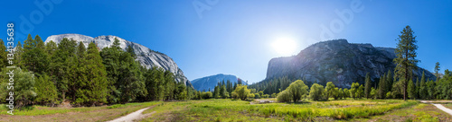 Photo  Meadow and trees surrounded by rocky mountains