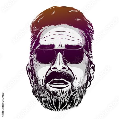 Fototapeta Wektorowego modnisia mężczyzna brodata twarz w okularach przeciwsłonecznych