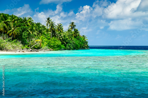 Fotobehang Koraalriffen Beautiful nature landscape of tropical island at daytime, Maldives